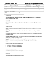 Protocols and Reports - SOP Sample Excerpt