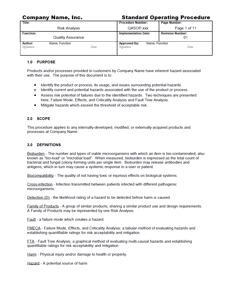 Free Standard Operating Procedures Template Download character ...
