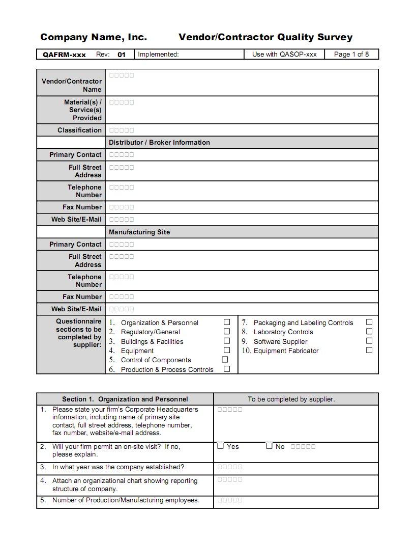 Vendor Qualification Form Examples on vendor table example, vendor letter example, vendor form template,